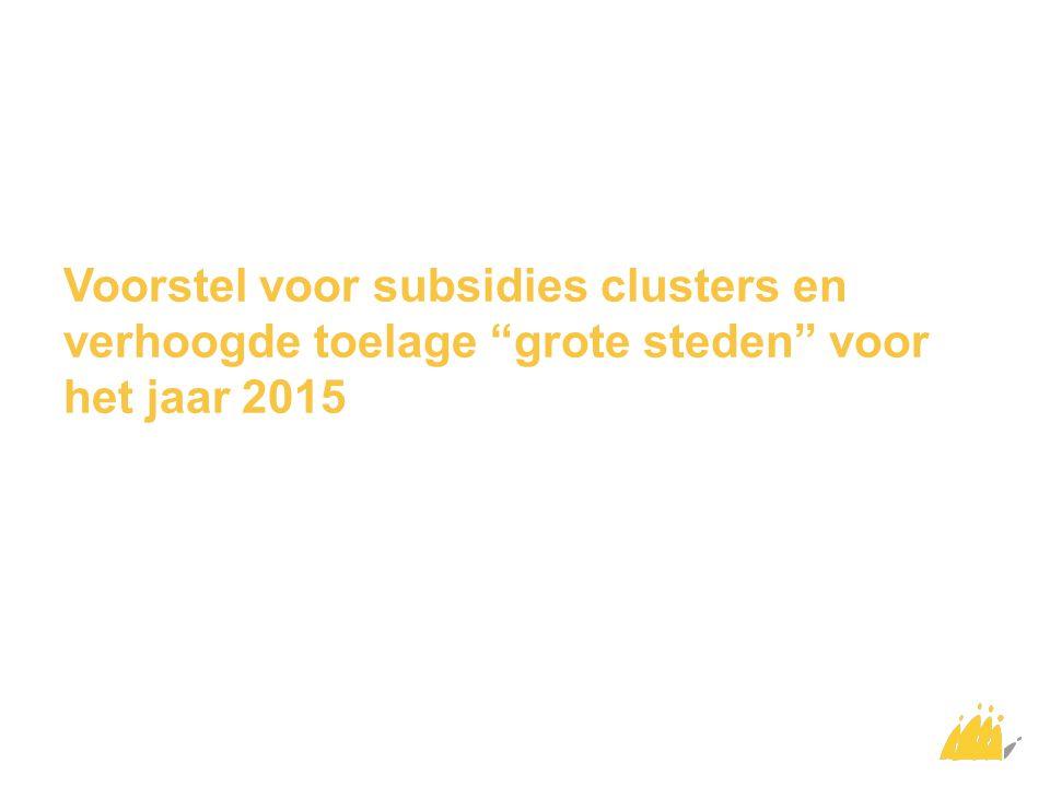 """Voorstel voor subsidies clusters en verhoogde toelage """"grote steden"""" voor het jaar 2015"""