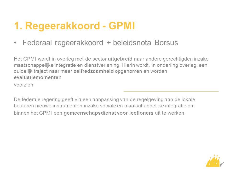 1. Regeerakkoord - GPMI Federaal regeerakkoord + beleidsnota Borsus Het GPMI wordt in overleg met de sector uitgebreid naar andere gerechtigden inzake