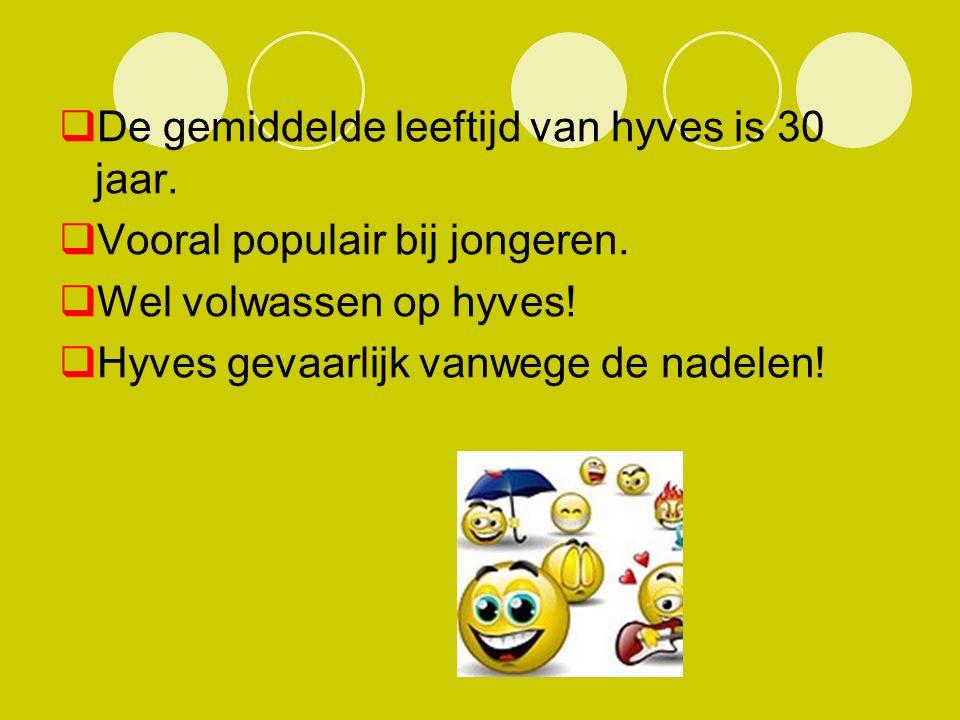  De gemiddelde leeftijd van hyves is 30 jaar.  Vooral populair bij jongeren.  Wel volwassen op hyves!  Hyves gevaarlijk vanwege de nadelen!