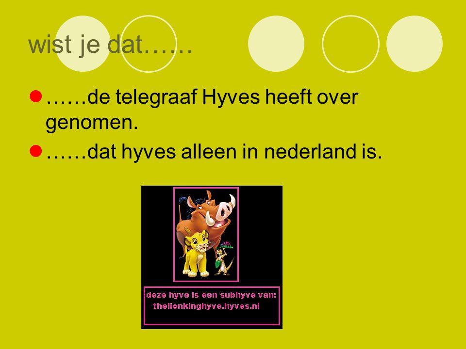 wist je dat…… ……de telegraaf Hyves heeft over genomen. ……dat hyves alleen in nederland is.