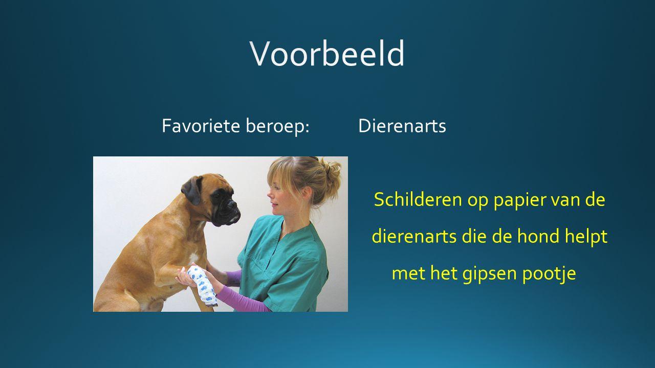 Favoriete beroep: Dierenarts Schilderen op papier van de dierenarts die de hond helpt met het gipsen pootje