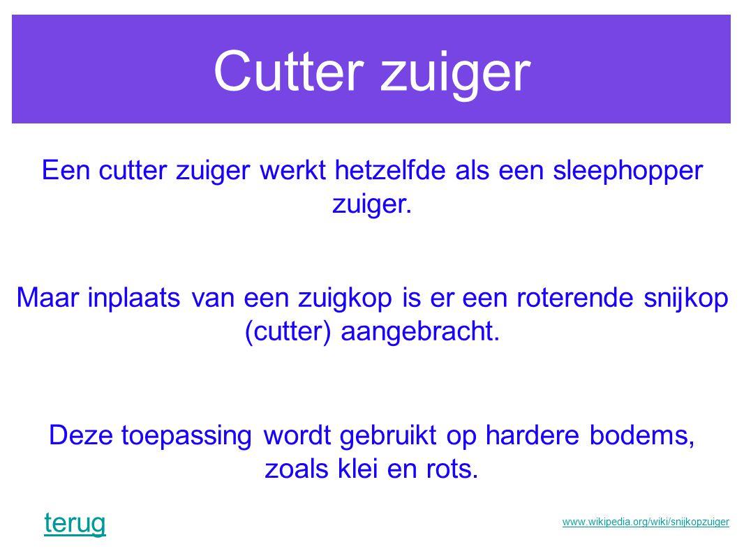 Cutter zuiger Een cutter zuiger werkt hetzelfde als een sleephopper zuiger. Maar inplaats van een zuigkop is er een roterende snijkop (cutter) aangebr