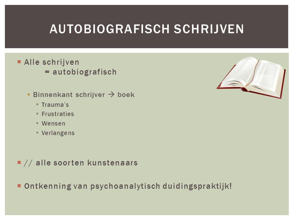  Alle schrijven = autobiografisch  Binnenkant schrijver  boek  Trauma's  Frustraties  Wensen  Verlangens  // alle soorten kunstenaars  Ontkenning van psychoanalytisch duidingspraktijk.