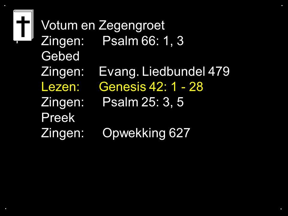 ....Votum en Zegengroet Zingen: Psalm 66: 1, 3 Gebed Zingen:Evang.