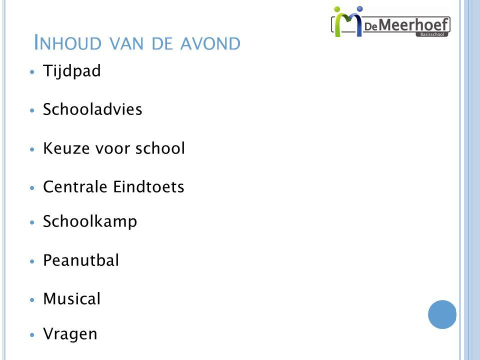 I NHOUD VAN DE AVOND Tijdpad Schooladvies Keuze voor school Centrale Eindtoets Schoolkamp Peanutbal Musical Vragen