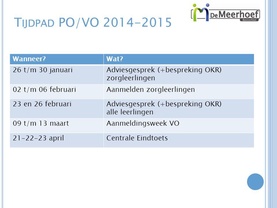 T IJDPAD PO/VO 2014-2015 Wanneer?Wat.