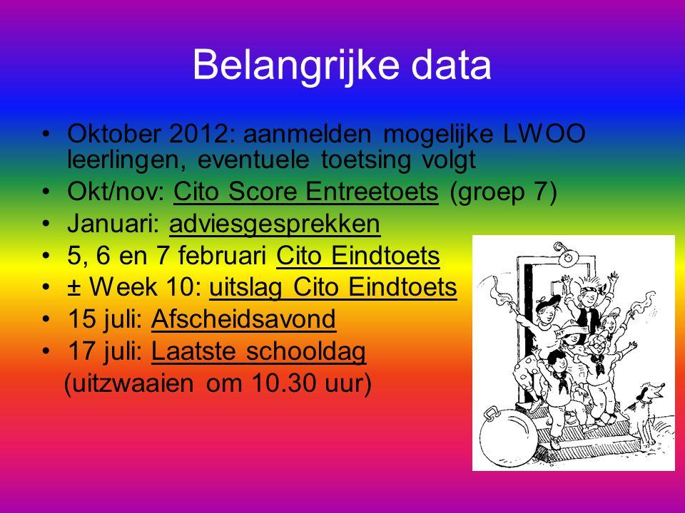 Belangrijke data Oktober 2012: aanmelden mogelijke LWOO leerlingen, eventuele toetsing volgt Okt/nov: Cito Score Entreetoets (groep 7) Januari: advies