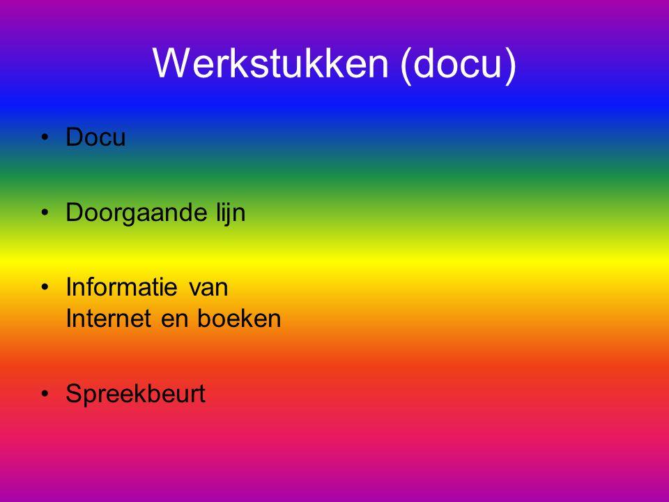 Werkstukken (docu) Docu Doorgaande lijn Informatie van Internet en boeken Spreekbeurt