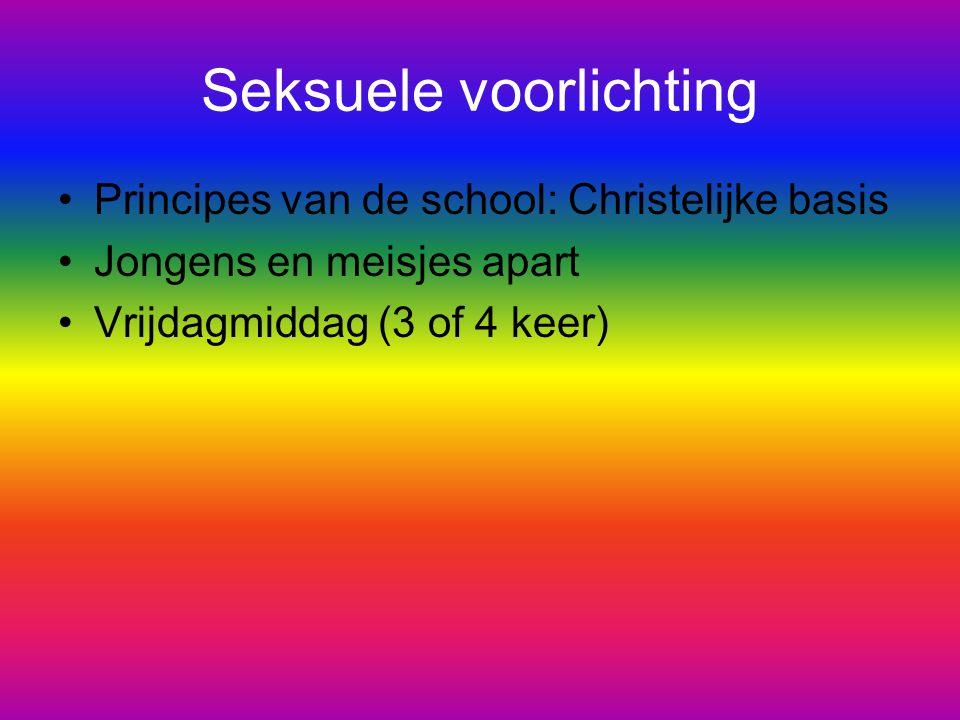 Seksuele voorlichting Principes van de school: Christelijke basis Jongens en meisjes apart Vrijdagmiddag (3 of 4 keer)