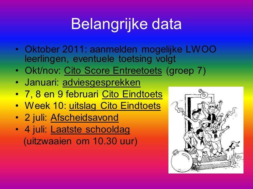 Belangrijke data Oktober 2011: aanmelden mogelijke LWOO leerlingen, eventuele toetsing volgt Okt/nov: Cito Score Entreetoets (groep 7) Januari: advies
