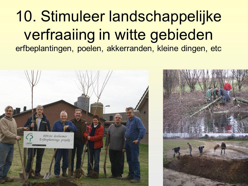10. Stimuleer landschappelijke verfraaiing in witte gebieden erfbeplantingen, poelen, akkerranden, kleine dingen, etc