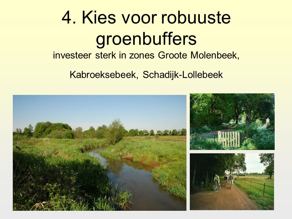 4. Kies voor robuuste groenbuffers investeer sterk in zones Groote Molenbeek, Kabroeksebeek, Schadijk-Lollebeek