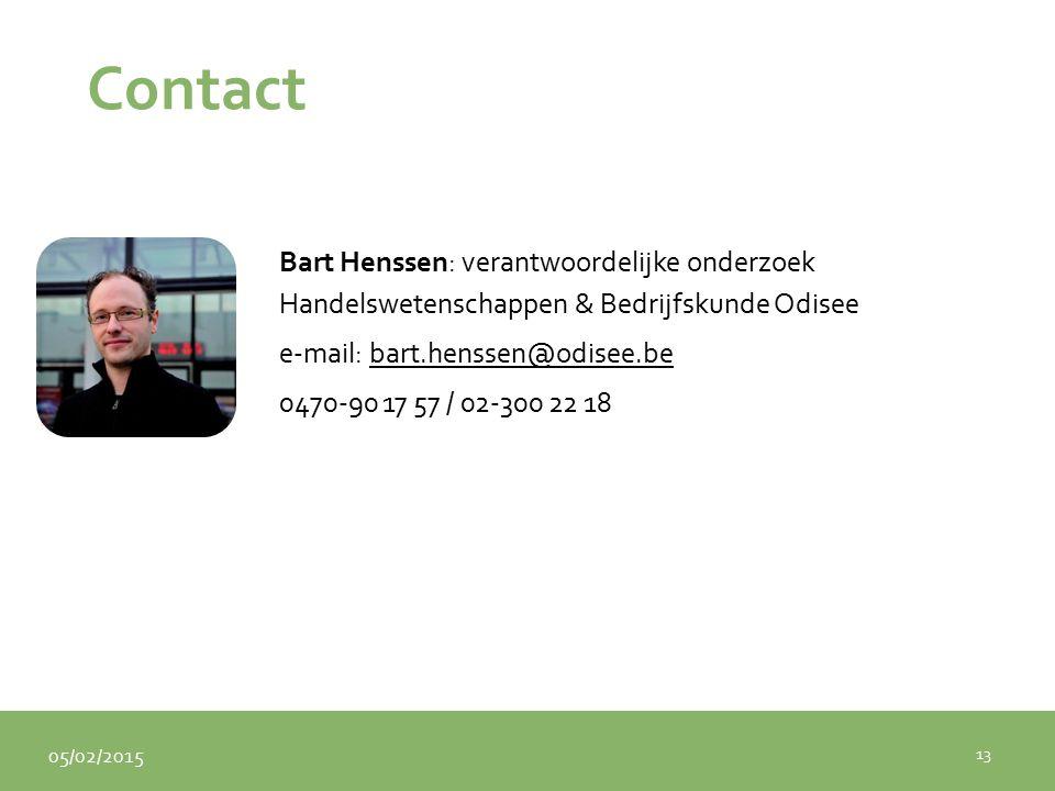 05/02/2015 Contact Bart Henssen: verantwoordelijke onderzoek Handelswetenschappen & Bedrijfskunde Odisee e-mail: bart.henssen@odisee.bebart.henssen@odisee.be 0470-90 17 57 / 02-300 22 18 13
