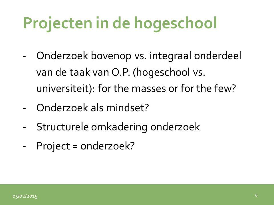 05/02/2015 Projecten in de hogeschool -Onderzoek bovenop vs. integraal onderdeel van de taak van O.P. (hogeschool vs. universiteit): for the masses or