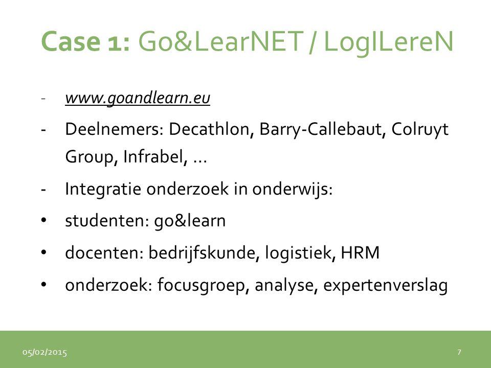 05/02/2015 Case 1: Go&LearNET / LogILereN -www.goandlearn.euwww.goandlearn.eu -Deelnemers: Decathlon, Barry-Callebaut, Colruyt Group, Infrabel, … -Integratie onderzoek in onderwijs: studenten: go&learn docenten: bedrijfskunde, logistiek, HRM onderzoek: focusgroep, analyse, expertenverslag 7