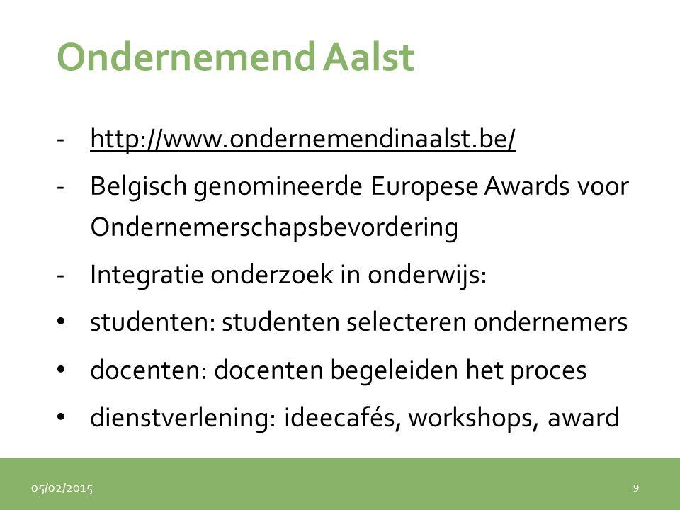 05/02/2015 Ondernemend Aalst -http://www.ondernemendinaalst.be/http://www.ondernemendinaalst.be/ -Belgisch genomineerde Europese Awards voor Ondernemerschapsbevordering -Integratie onderzoek in onderwijs: studenten: studenten selecteren ondernemers docenten: docenten begeleiden het proces dienstverlening: ideecafés, workshops, award 9
