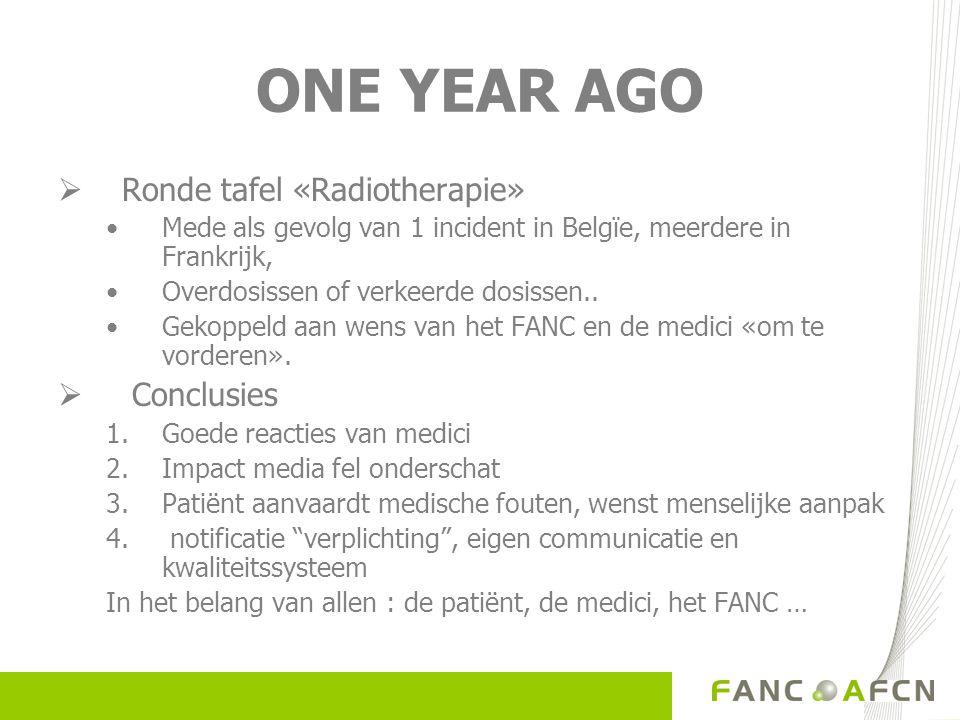 ONE YEAR AGO  Ronde tafel «Radiotherapie» Mede als gevolg van 1 incident in Belgïe, meerdere in Frankrijk, Overdosissen of verkeerde dosissen..