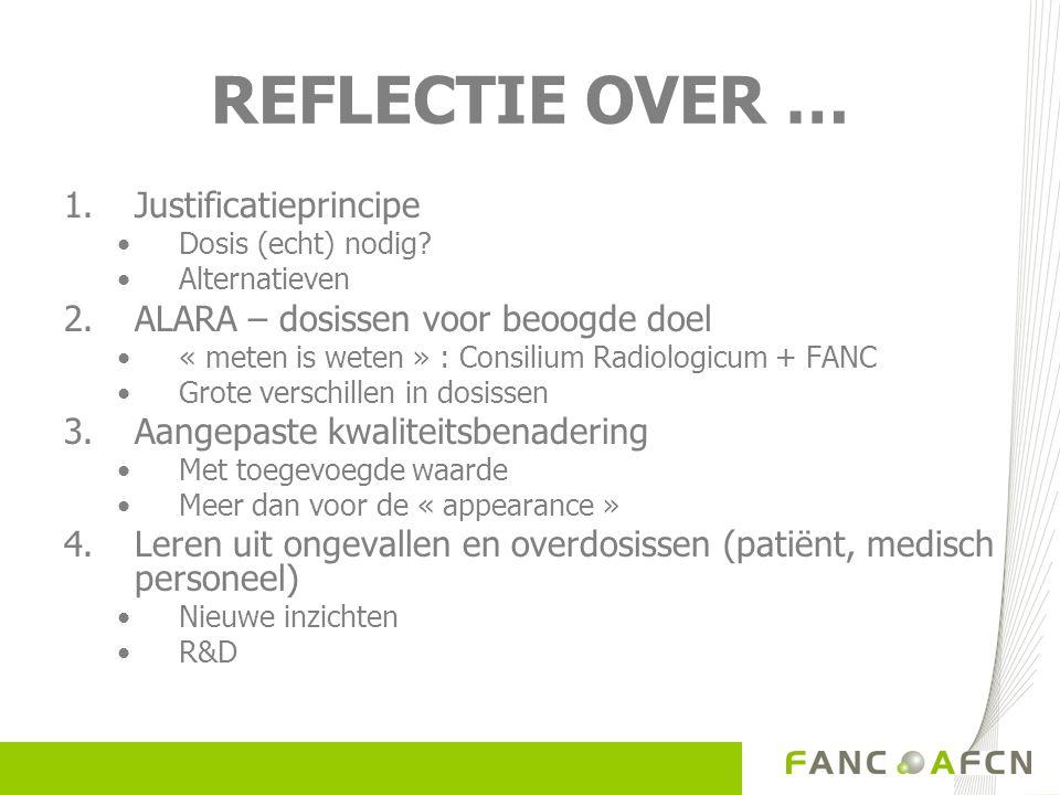 REFLECTIE OVER … 1.Justificatieprincipe Dosis (echt) nodig.