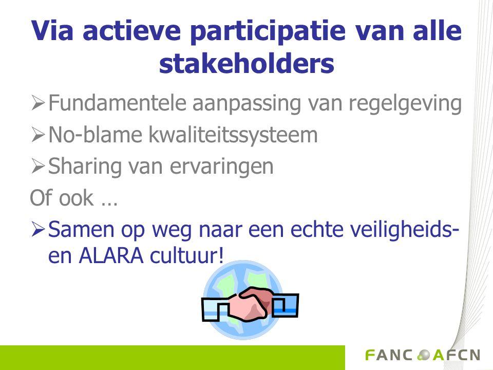 Via actieve participatie van alle stakeholders  Fundamentele aanpassing van regelgeving  No-blame kwaliteitssysteem  Sharing van ervaringen Of ook …  Samen op weg naar een echte veiligheids- en ALARA cultuur!