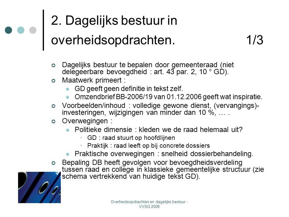 Overheidsopdrachten en dagelijks bestuur - VVSG 2008 2. Dagelijks bestuur in overheidsopdrachten. 1/3 Dagelijks bestuur te bepalen door gemeenteraad (