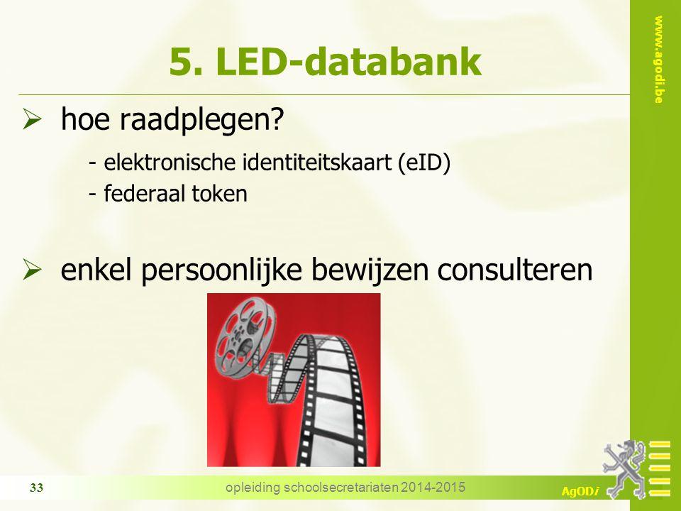 www.agodi.be AgODi opleiding schoolsecretariaten 2014-2015 33 5. LED-databank  hoe raadplegen? - elektronische identiteitskaart (eID) - federaal toke
