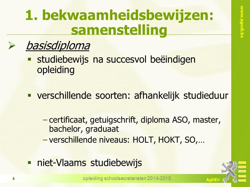 www.agodi.be AgODi opleiding schoolsecretariaten 2014-2015 4 1. bekwaamheidsbewijzen: samenstelling  basisdiploma  studiebewijs na succesvol beëindi