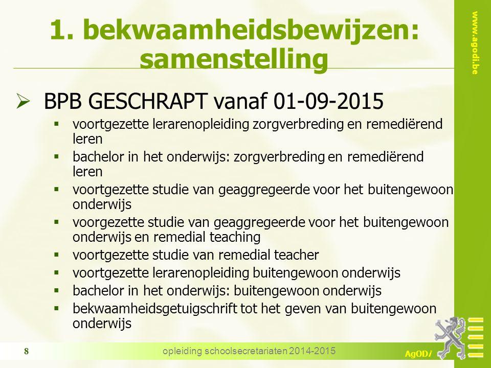 www.agodi.be AgODi 1. bekwaamheidsbewijzen: samenstelling  BPB GESCHRAPT vanaf 01-09-2015  voortgezette lerarenopleiding zorgverbreding en remediëre