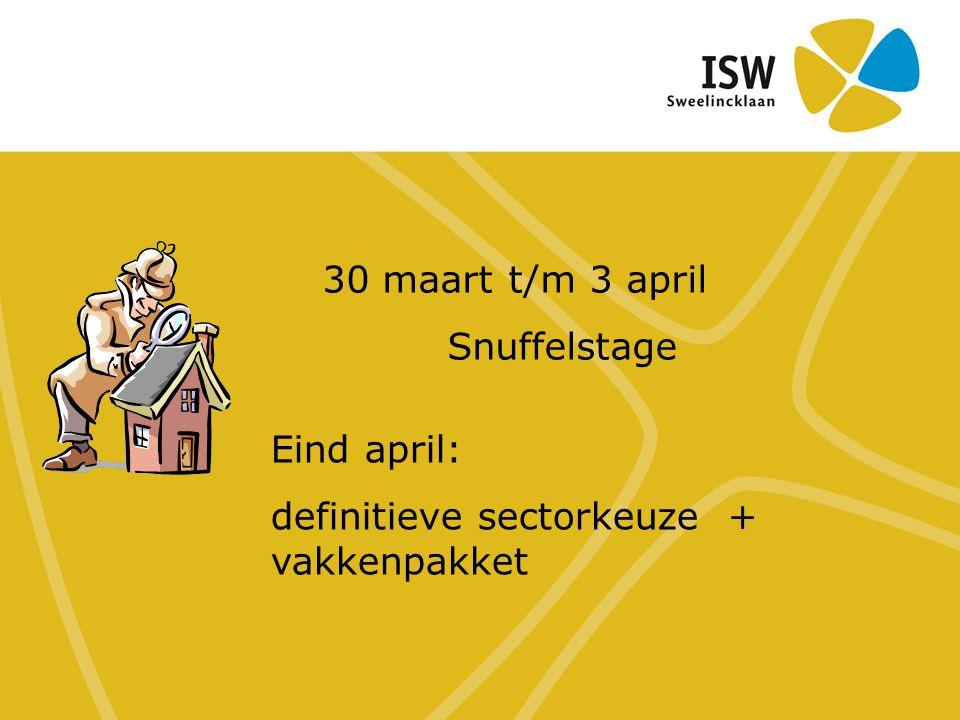 30 maart t/m 3 april Snuffelstage Eind april: definitieve sectorkeuze + vakkenpakket
