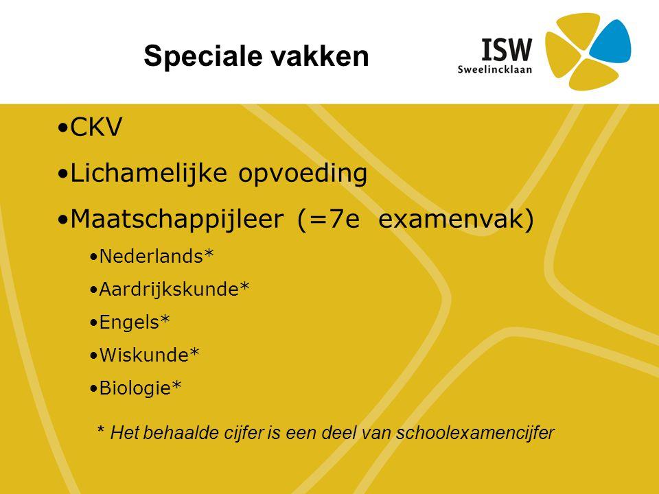 CKV Lichamelijke opvoeding Maatschappijleer (=7e examenvak) Nederlands* Aardrijkskunde* Engels* Wiskunde* Biologie* Speciale vakken * Het behaalde cijfer is een deel van schoolexamencijfer