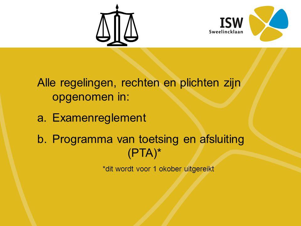 Alle regelingen, rechten en plichten zijn opgenomen in: a.Examenreglement b.Programma van toetsing en afsluiting (PTA)* *dit wordt voor 1 okober uitgereikt