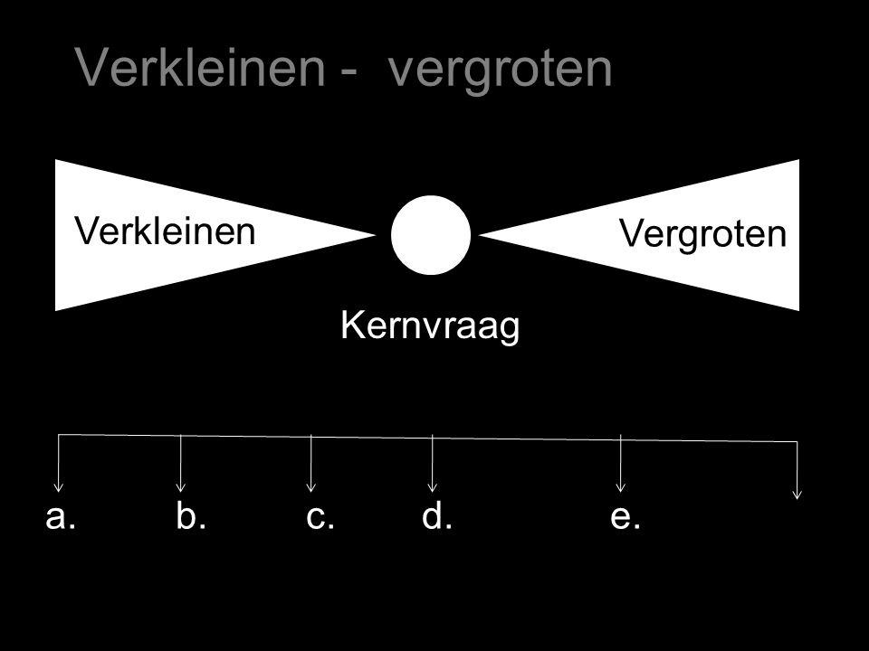 Verkleinen - vergroten Verkleinen Vergroten a.b.c.d. Kernvraag e.