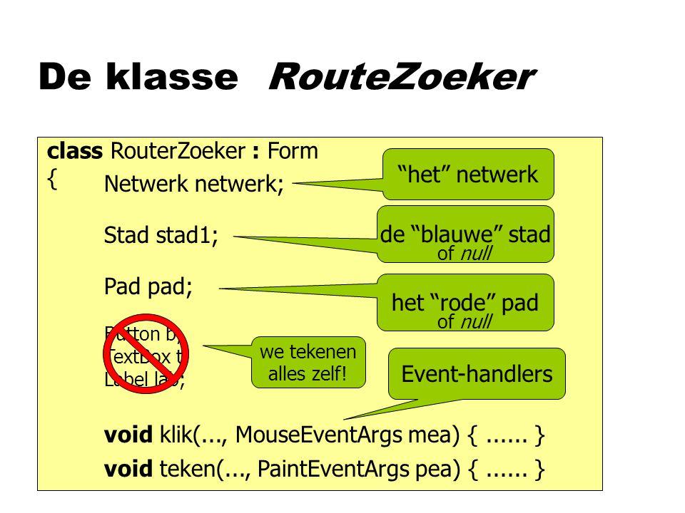 De klasse RouteZoeker class RouterZoeker : Form { Netwerk netwerk; Stad stad1; Pad pad; het netwerk de blauwe stad of null het rode pad of null Button b; TextBox t; Label lab; we tekenen alles zelf.