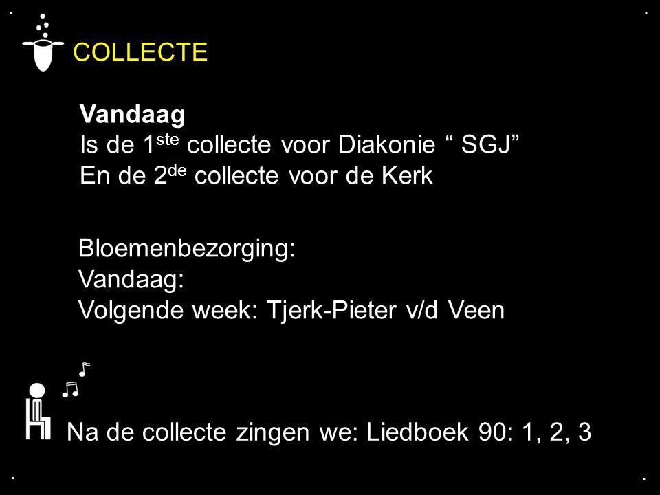 """.... COLLECTE Vandaag Is de 1 ste collecte voor Diakonie """" SGJ"""" En de 2 de collecte voor de Kerk Bloemenbezorging: Vandaag: Volgende week: Tjerk-Piete"""