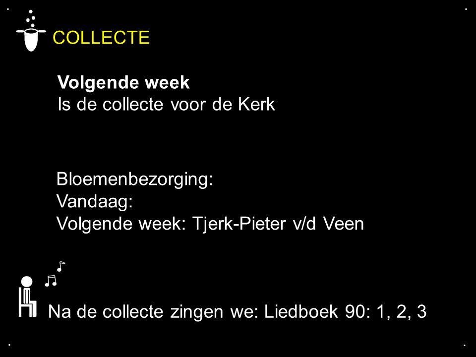 .... COLLECTE Volgende week Is de collecte voor de Kerk Bloemenbezorging: Vandaag: Volgende week: Tjerk-Pieter v/d Veen Na de collecte zingen we: Lied