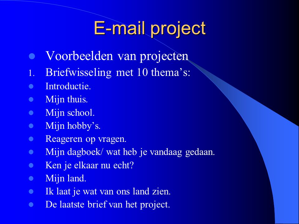 E-mail project Het mailen Als groep of, Kind met kind.