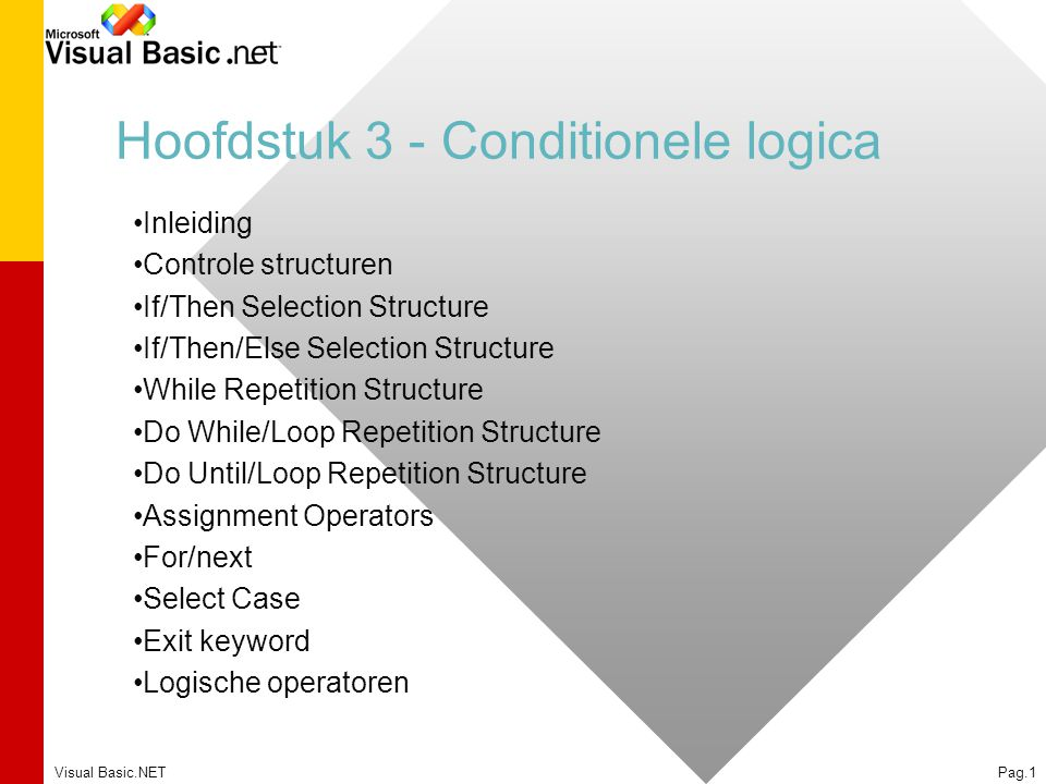 Visual Basic.NETPag.1 Hoofdstuk 3 - Conditionele logica Inleiding Controle structuren If/Then Selection Structure If/Then/Else Selection Structure Whi