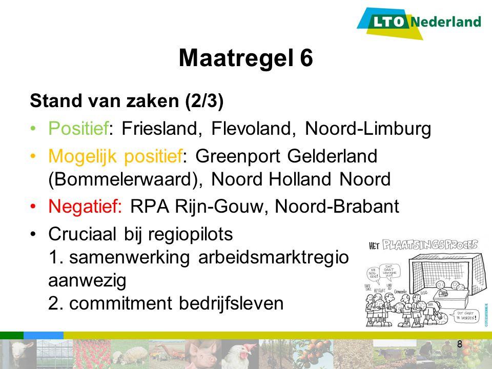 Stand van zaken (2/3) Positief: Friesland, Flevoland, Noord-Limburg Mogelijk positief: Greenport Gelderland (Bommelerwaard), Noord Holland Noord Negatief: RPA Rijn-Gouw, Noord-Brabant Cruciaal bij regiopilots 1.