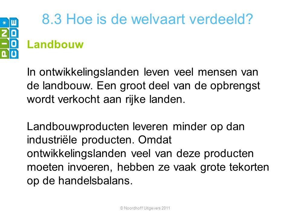 8.3 Hoe is de welvaart verdeeld? Landbouw In ontwikkelingslanden leven veel mensen van de landbouw. Een groot deel van de opbrengst wordt verkocht aan