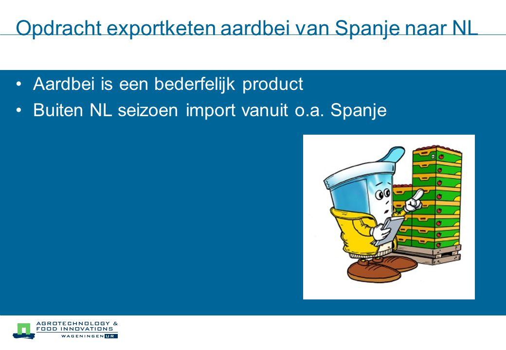 Opdracht exportketen aardbei van Spanje naar NL Aardbei is een bederfelijk product Buiten NL seizoen import vanuit o.a.