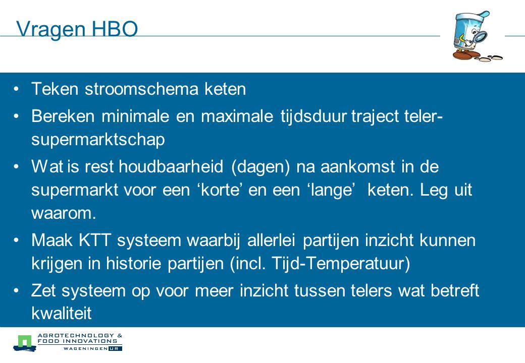 Vragen HBO Teken stroomschema keten Bereken minimale en maximale tijdsduur traject teler- supermarktschap Wat is rest houdbaarheid (dagen) na aankomst in de supermarkt voor een 'korte' en een 'lange' keten.