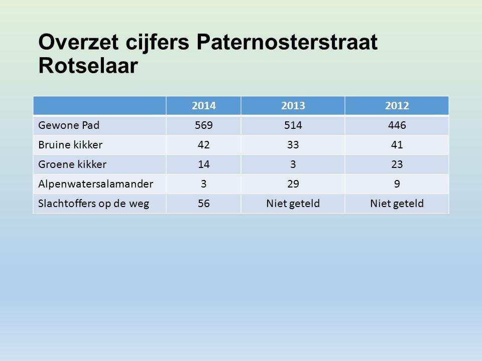Overzet cijfers Paternosterstraat Rotselaar 201420132012 Gewone Pad569514446 Bruine kikker423341 Groene kikker14323 Alpenwatersalamander3299 Slachtoffers op de weg56Niet geteld