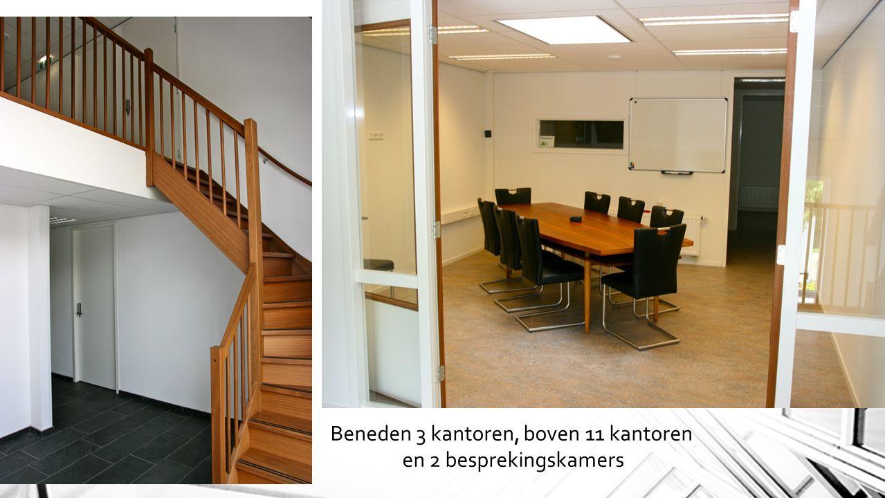 Beneden 3 kantoren, boven 11 kantoren en 2 besprekingskamers