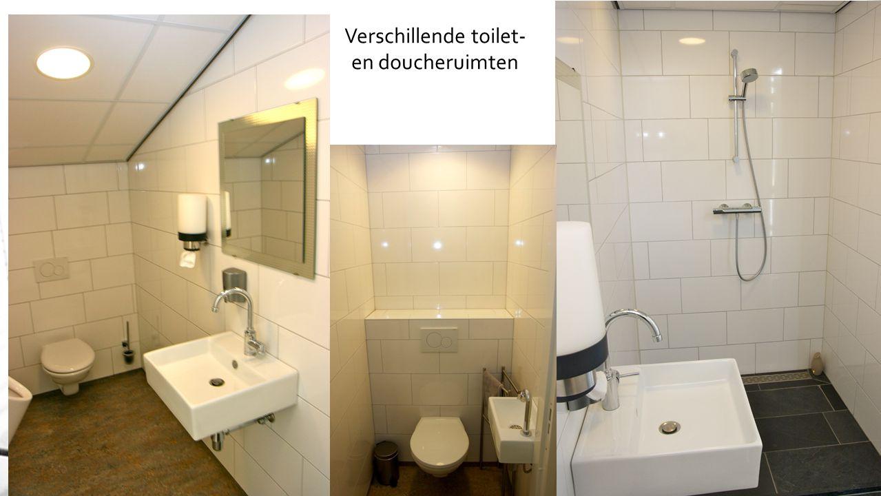 Verschillende toilet- en doucheruimten
