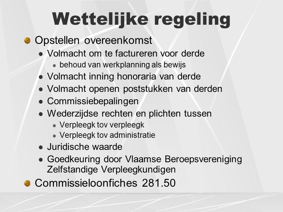 Wettelijke regeling Opstellen overeenkomst Volmacht om te factureren voor derde behoud van werkplanning als bewijs Volmacht inning honoraria van derde Volmacht openen poststukken van derden Commissiebepalingen Wederzijdse rechten en plichten tussen Verpleegk tov verpleegk Verpleegk tov administratie Juridische waarde Goedkeuring door Vlaamse Beroepsvereniging Zelfstandige Verpleegkundigen Commissieloonfiches 281.50