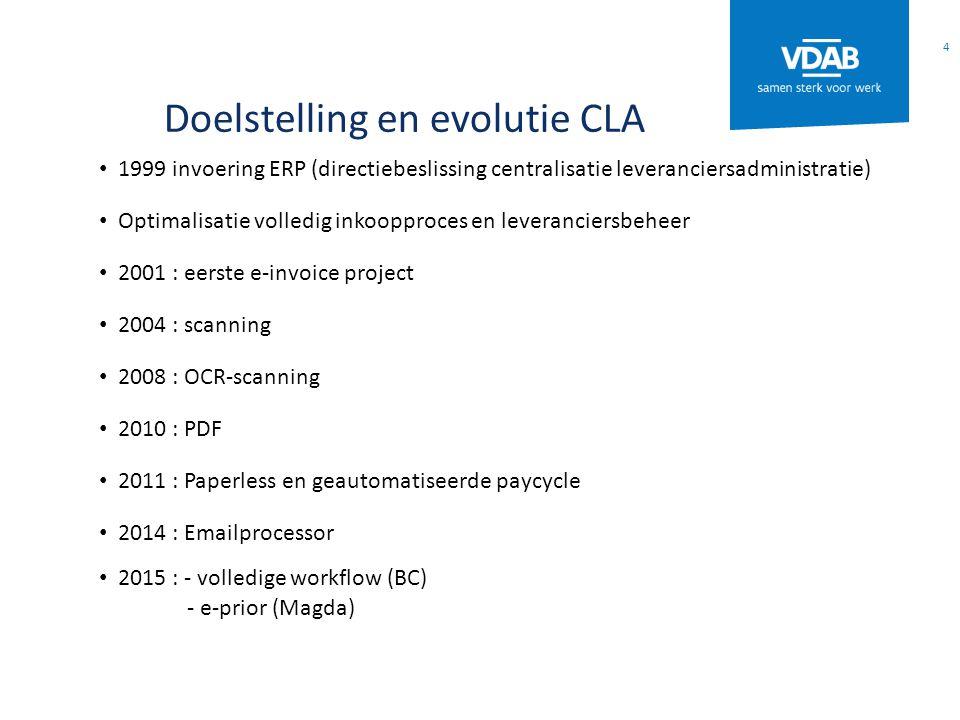 Doelstelling en evolutie CLA 1999 invoering ERP (directiebeslissing centralisatie leveranciersadministratie) Optimalisatie volledig inkoopproces en leveranciersbeheer 2001 : eerste e-invoice project 2004 : scanning 2008 : OCR-scanning 2010 : PDF 2011 : Paperless en geautomatiseerde paycycle 2014 : Emailprocessor 2015 : - volledige workflow (BC) - e-prior (Magda) 4