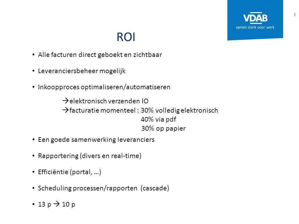 ROI Alle facturen direct geboekt en zichtbaar Leveranciersbeheer mogelijk Inkoopproces optimaliseren/automatiseren  elektronisch verzenden IO  factu