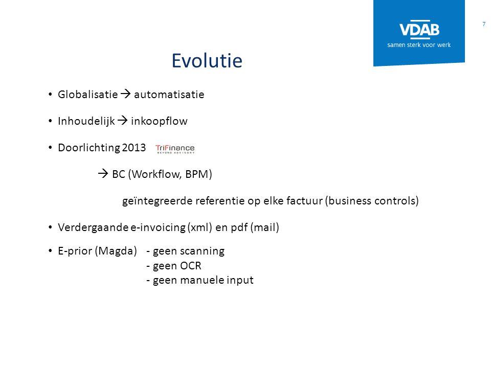 Evolutie Globalisatie  automatisatie Inhoudelijk  inkoopflow Doorlichting 2013  BC (Workflow, BPM) geïntegreerde referentie op elke factuur (business controls) Verdergaande e-invoicing (xml) en pdf (mail) E-prior (Magda)- geen scanning - geen OCR - geen manuele input 7