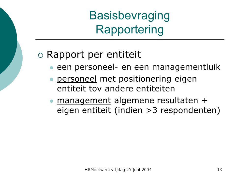 HRMnetwerk vrijdag 25 juni 200413 Basisbevraging Rapportering  Rapport per entiteit een personeel- en een managementluik personeel met positionering eigen entiteit tov andere entiteiten management algemene resultaten + eigen entiteit (indien >3 respondenten)