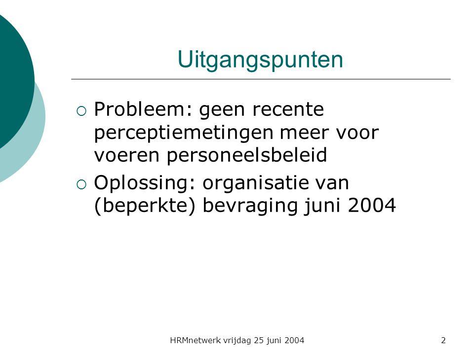 HRMnetwerk vrijdag 25 juni 20042 Uitgangspunten  Probleem: geen recente perceptiemetingen meer voor voeren personeelsbeleid  Oplossing: organisatie van (beperkte) bevraging juni 2004