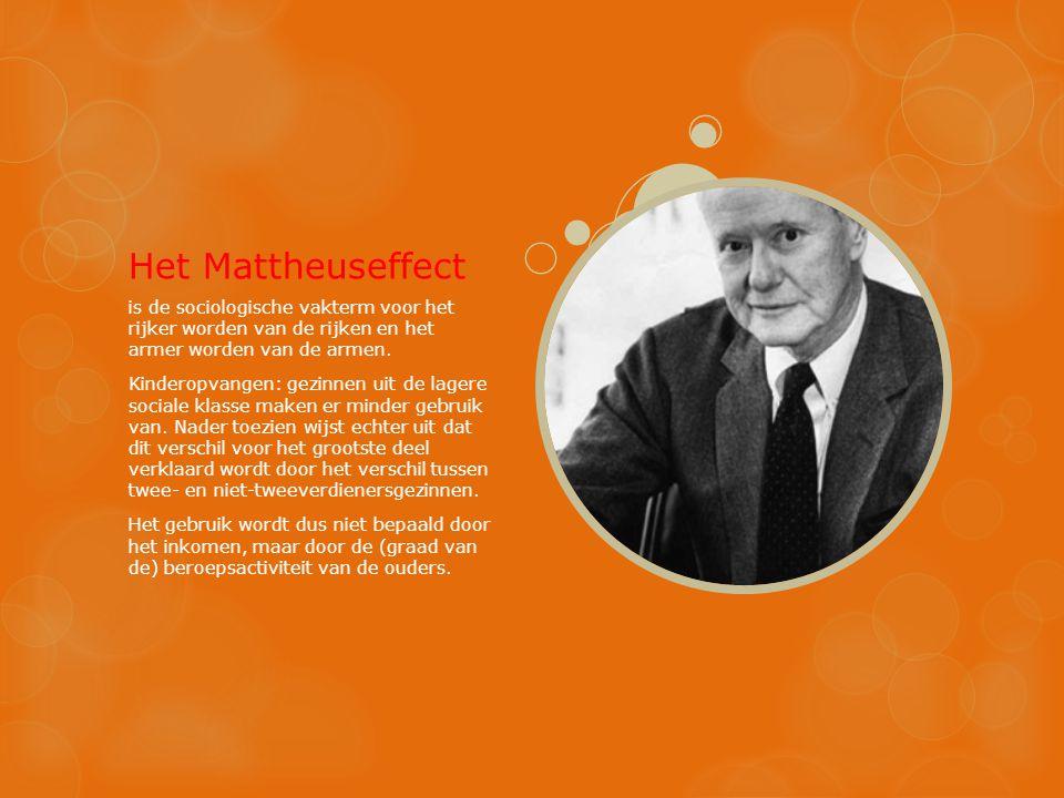 Het Mattheuseffect is de sociologische vakterm voor het rijker worden van de rijken en het armer worden van de armen. Kinderopvangen: gezinnen uit de